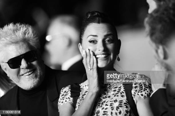 "Pedro Almodovar and Penelope Cruz attend the screening of ""Pain And Glory "" during the 72nd annual Cannes Film Festival on May 17, 2019 in Cannes,..."