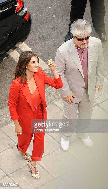Pedro Almodovar and Penelope Cruz attend UK Premiere of 'Broken Embraces' at Somerset House on July 30 2009 in London England