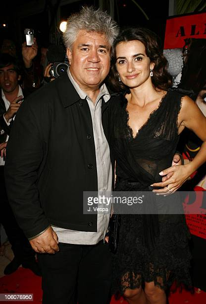 Pedro Almodovar and Penelope Cruz during 2006 Cannes Film Festival Volver Premiere Dinner at Noga Beach in Cannes France