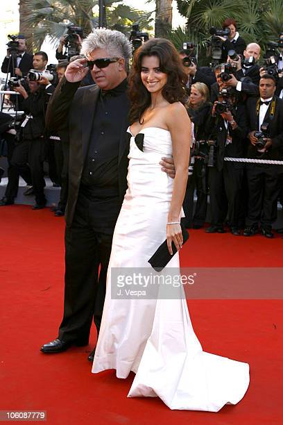Pedro Almodovar and Penelope Cruz during 2006 Cannes Film Festival 'Marie Antoinette' Premiere at Palais des Festival in Cannes France