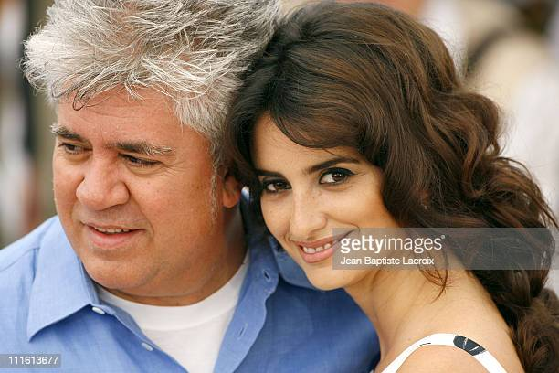 """Pedro Almodovar and Penelope Cruz during 2006 Cannes Film Festival - """"Volver"""" Photocall at Palais du Festival in Cannes, France."""