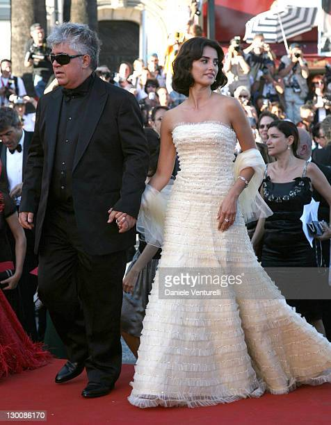"""Pedro Almodovar and Penelope Cruz during 2006 Cannes Film Festival - """"Volver"""" Premiere at Palais Du Festival in Cannes, France."""