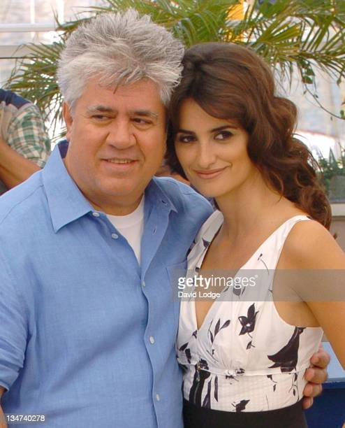 """Pedro Almodovar and Penelope Cruz during 2006 Cannes Film Festival - """"Volver"""" Photo Call at Palais du Festival in Cannes, France."""