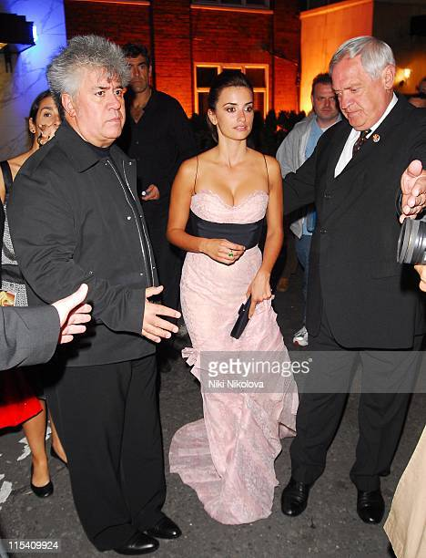 Pedro Almodovar and Penelope Cruz during Volver London Film Premiere After Party at Mirabelle in London Great Britain