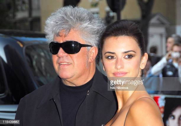 """Pedro Almodovar and Penelope Cruz during """"Volver"""" London Premiere - Outside Arrivals at Curzon Mayfair in London, Great Britain."""