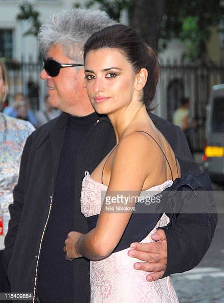 Pedro Almodovar and Penelope Cruz during Volver London Premiere Outside Arrivals at Curzon Mayfair in London Great Britain