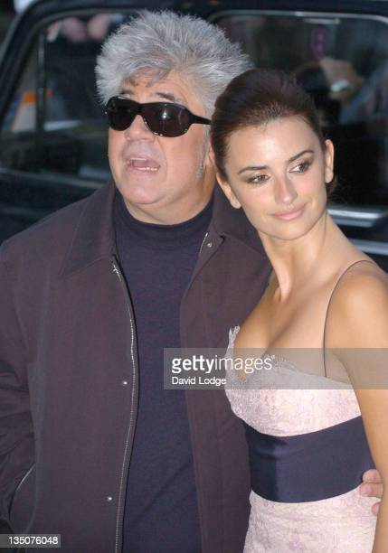 "Pedro Almodovar and Penelope Cruz during ""Volver"" London Premiere - Outside Arrivals at Curzon Mayfair in London, Great Britain."