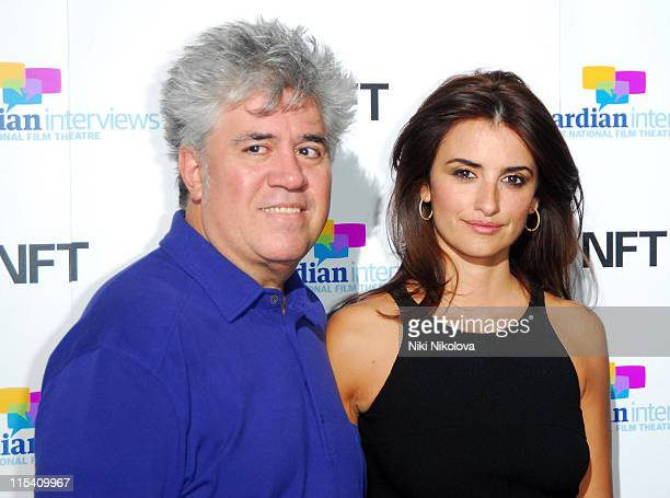 Pedro Almodovar and Penelope Cruz during Volver Photo Call at The National Film Theatre August 4 2006 in london United Kingdom