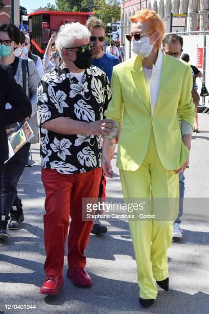 Pedro Almodovar and Tilda Swinton are seen arriving at the 77th Venice Film Festival on September 03, 2020 in Venice, Italy.