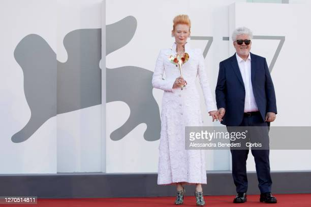 """Pedro Almodovar and Tilda Swinton walk the red carpet ahead of the movie """"The Human Voice"""" and """"Quo Vadis, Aida?"""" at the 77th Venice Film Festival on..."""
