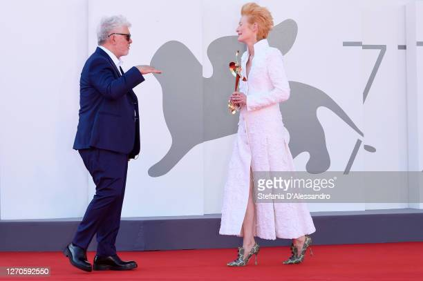 """Pedro Almodovar and Tilda Swinton walk the red carpet ahead of the movie """"The Human Voice"""" at the 77th Venice Film Festival at on September 03, 2020..."""