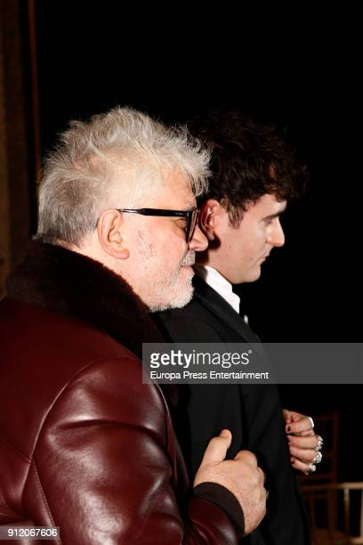 Pedro Almodovar attends the front row of Palomo Spain show during Mercedes Benz Fashion Week Madrid Autumn / Winter 2018 on January 28 2018 in Madrid...