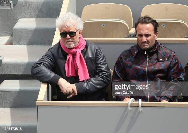 Pedro Almodovar attends the semifinal between Rafael Nadal of Spain and Roger Federer of Switzerland during day 13 of the 2019 French Open at Roland...