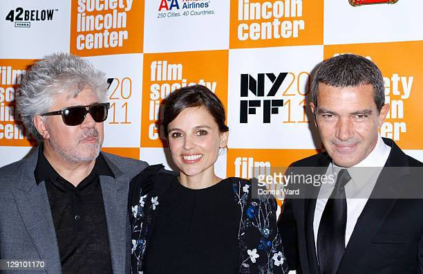 Pedro Almodovar Elena Anaya and Antonio Banderas attend the 49th annual New York Film Festival presentation of The Skin I Live In at Alice Tully Hall...