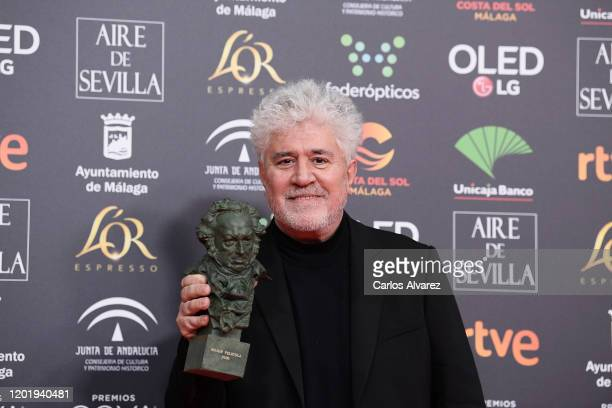 "Pedro Almodovar holds the Best Film Award for the film ""Dolor Y Gloria"" during the 34rd edition of the Goya Cinema Awards at Jose Maria Martin..."