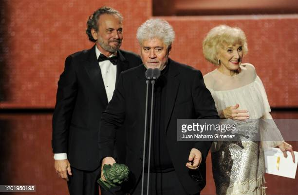 "Pedro Almodovar holds the Best Film Award for the film ""Dolor y Gloria"" during the 34th edition of the 'Goya Cinema Awards' ceremony at Jose Maria..."