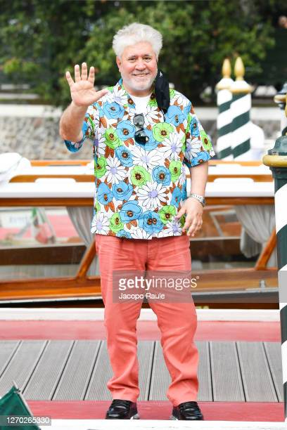 Pedro Almodovar is seen arriving at the Excelsior during the 77th Venice Film Festival on September 02, 2020 in Venice, Italy.
