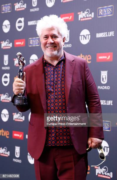 Pedro Almodovar is seen at Platino Awards winners press room at La Caja Magica on July 22 2017 in Madrid Spain