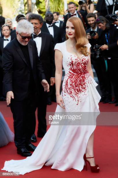 Pedro Almodovar Jessica Chastain attend the Closing Ceremony of the 70th annual Cannes Film Festival at Palais des Festivals on May 28 2017 in Cannes...