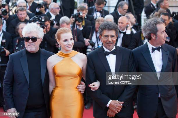 Pedro Almodovar Jessica Chastain Gabriel Yared Paolo Sorrentino attend the 70th Anniversary of the 70th annual Cannes Film Festival at Palais des...