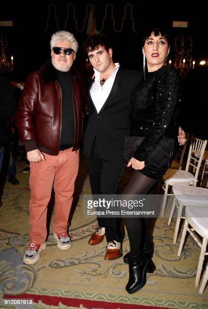 Pedro Almodovar Palomo Spain and Rossy de Palma attend the front row of Palomo Spain show during Mercedes Benz Fashion Week Madrid Autumn / Winter...