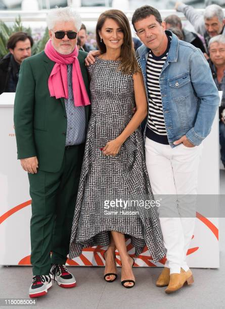 Pedro Almodovar Penelope Cruz and Antonio Banderas attend the photocall for Pain And Glory during the 72nd annual Cannes Film Festival on May 18 2019...