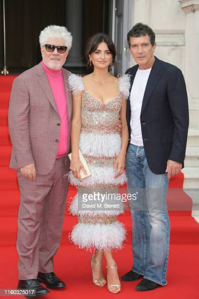 Pedro Almodovar Penelope Cruz and Antonio Banderas attend the opening night of Film4 Summer Screen at Somerset House featuring the UK Premiere of...