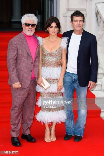 Pedro Almodovar Penelope Cruz and Antonio Banderas attend the Pain And Glory UK Premiere and opening gala of Film4 Summer Screen at Somerset House on...