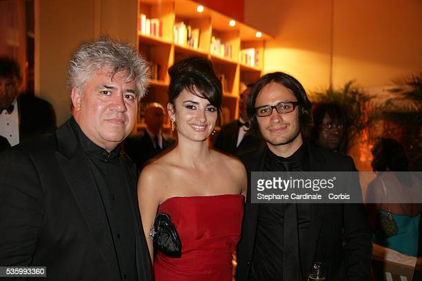 Pedro Almodovar Penelope Cruz and Gael Garcia Bernal at the closing ceremony dinner of the 59th Cannes Film Festival