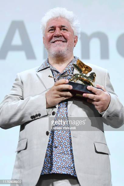 Pedro Almodovar poses with his Golden Lion Lifetime achievement award during the 76th Venice Film Festival at Sala Grande on August 29 2019 in Venice...