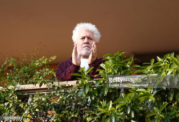 Pedro Almodovar tributes to the health workers during coronavirus crisis on April 03, 2020 in Madrid, Spain.