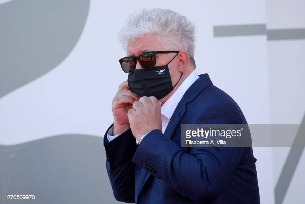"""Pedro Almodovar walks the red carpet ahead of the movie """"The Human Voice"""" at the 77th Venice Film Festival at on September 03, 2020 in Venice, Italy."""