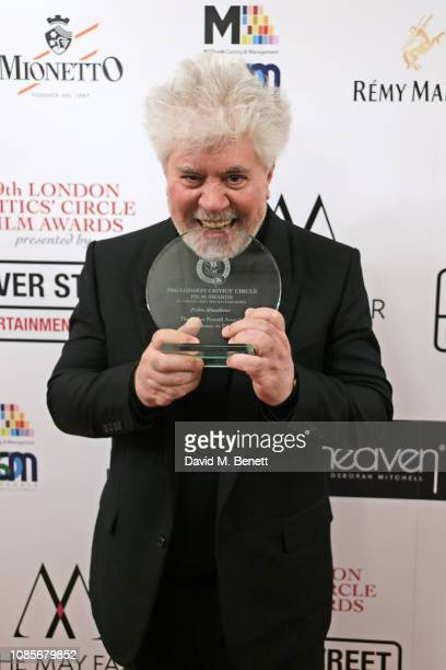 Pedro Almodovar winner of the Dilys Powell Award for Excellence in Film attends The 39th London Film Critics' Circle Awards at The May Fair Hotel on...