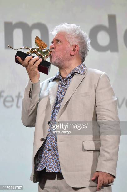 Pedro Almodovar with his Golden Lion Lifetime Achievement award during the 76th Venice Film Festival at Sala Grande on August 29, 2019 in Venice,...