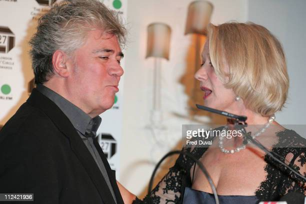 Pedro Almodovar won award for Best Foreign Film for Volver. He's talking to Helen Mirren
