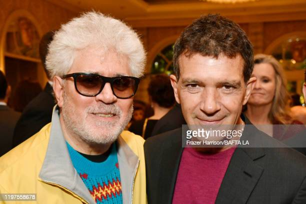 Pedro Almodóvar and Antonio Banderas attend The BAFTA Los Angeles Tea Party at Four Seasons Hotel Los Angeles at Beverly Hills on January 04, 2020 in...