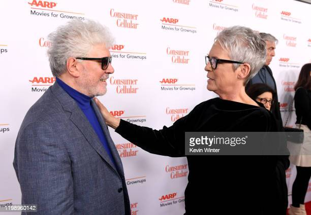 Pedro Almodóvar and Jamie Lee Curtis attend AARP The Magazine's 19th Annual Movies For Grownups Awards at Beverly Wilshire A Four Seasons Hotel on...