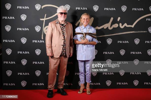 Pedro Almodóvar and Miuccia Prada attend a celebration as Pedro Almodovar is awarded the Golden Lion for lifetime achievement during the 76th Venice...