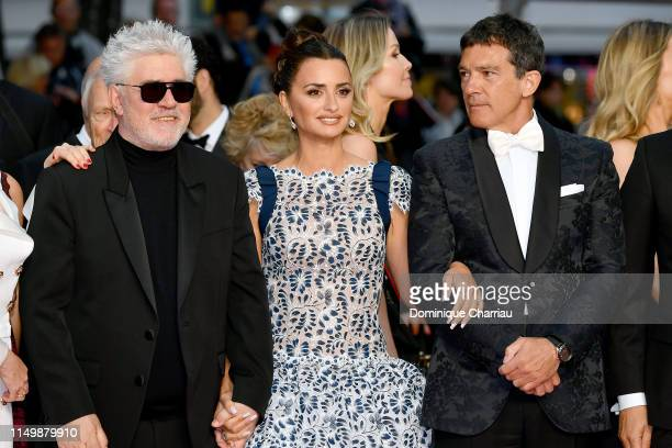Pedro Almodóvar Penelope Cruz wearing Atelier Swarovski Fine Jewelry and Antonio Banderas attend the screening of Pain And Glory during the 72nd...