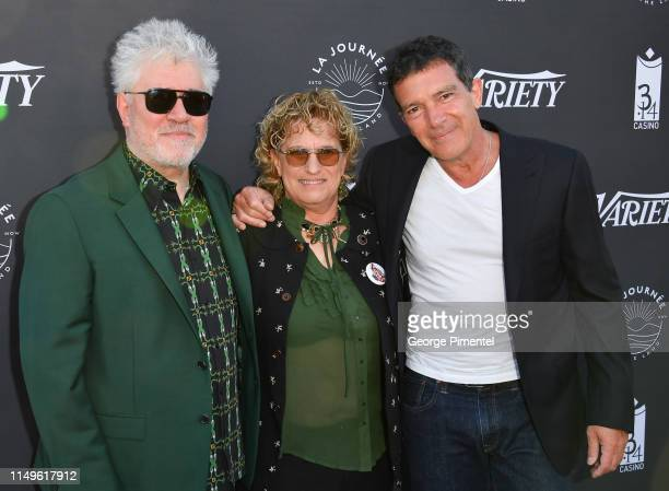 """Pedro Almodóvar, Variety Editor-In-Chief Claudia Eller and Antonio Banderas attend the photocall for """"The Journey By The Land"""" during the 72nd annual..."""