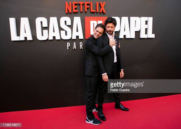 Pedro Alonso and Alvaro Morte attend the red carpet of 'La Casa De Papel' 3rd Season by Netflix on July 11 2019 in Madrid Spain