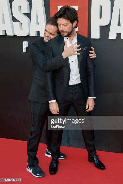 Pedro Alonso and Alvaro Morte attends the 'La Casa de Papel' 3rd season premiere at Callao Cinema in Madrid Spain on Jul 11 2019