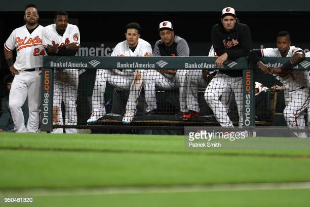 Pedro Alvarez Adam Jones Manny Machado Jonathan Schoop and teammates look on from the dugout against the Cleveland Indians during the ninth inning at...