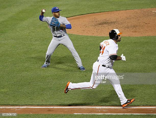 Pedro Alvarez of the Baltimore Orioles grounds out to pitcher Marcus Stroman of the Toronto Blue Jays for the first out of the fifth inning at Oriole...