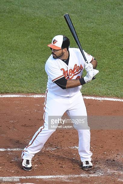 Pedro Alvarez of the Baltimore Orioles prepares for a pitch during a baseball game against the the Houston Astros at Oriole Park at Camden Yards on...