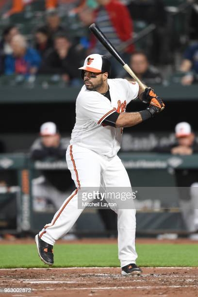 Pedro Alvarez of the Baltimore Orioles prepares for a pitch during a baseball game against the Tampa Bay Rays at Oriole Park at Camden Yards on April...