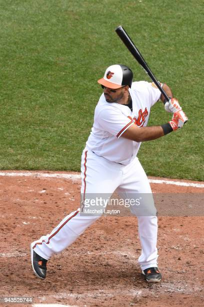 Pedro Alvarez of the Baltimore Orioles prepares for pitch during a baseball game against the Minnesota Twins at Oriole Park at Camden Yards on April...