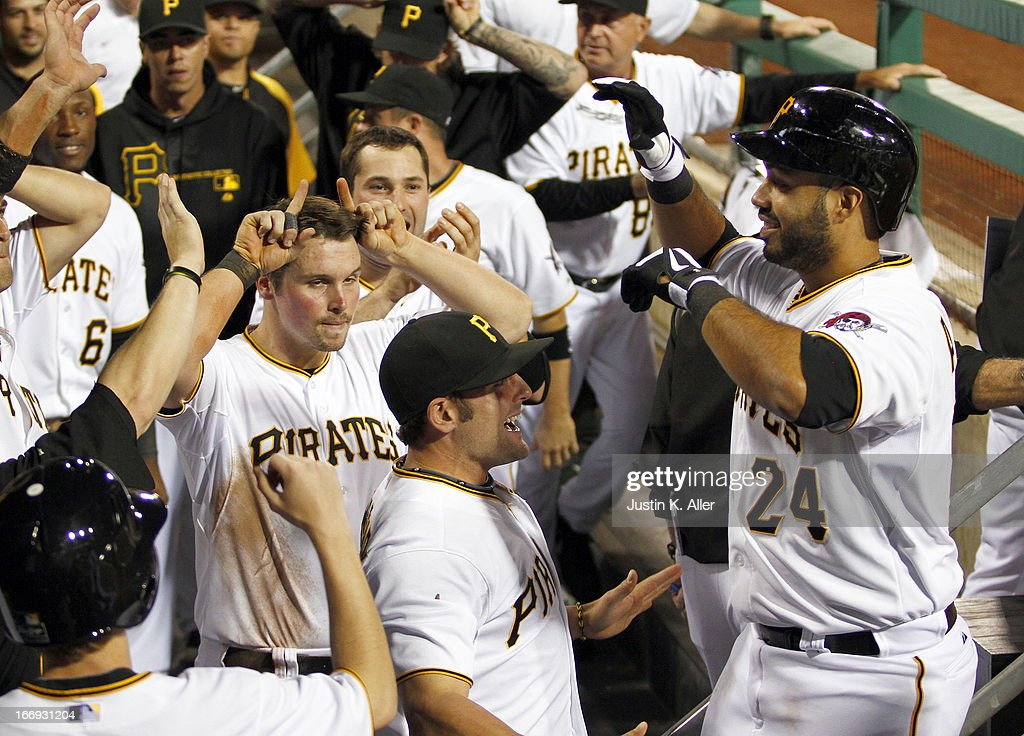 Pedro Alvarez #24 of the Pittsburgh Pirates celebrates after hitting a home run in the fourth inning against the Atlanta Braves during the game on April 18, 2013 at PNC Park in Pittsburgh, Pennsylvania.