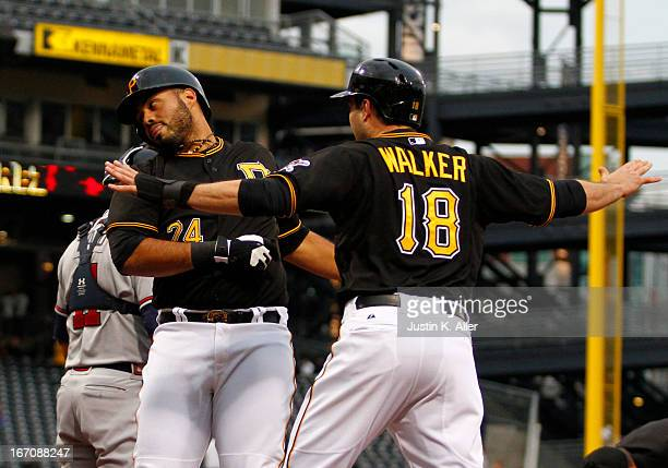 Pedro Alvarez of the Pittsburgh Pirates celebrates after hitting a two run home run in the second inning against the Atlanta Braves during the game...