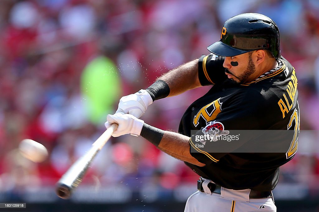 Pedro Alvarez #24 of the Pittsburgh Pirates hits a two-run home run in the third inning against the St. Louis Cardinals during Game Two of the National League Division Series at Busch Stadium on October 4, 2013 in St Louis, Missouri.